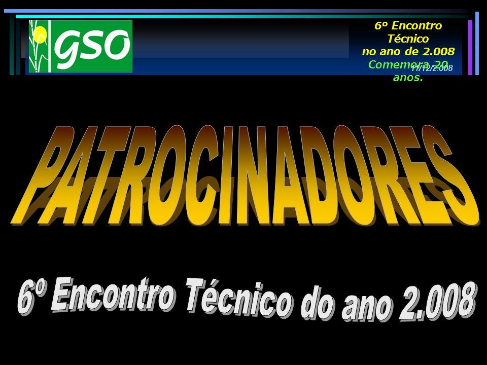 11/12/2.008 6º Encontro Técnico no ano de 2.008 Comemora 20 anos.