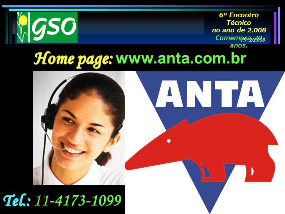 Tel.: Tel.: 11-4173-1099 Home page: Home page: www.anta.com.br 11/12/2.008 6º Encontro Técnico no ano de 2.008 Comemora 20 anos.