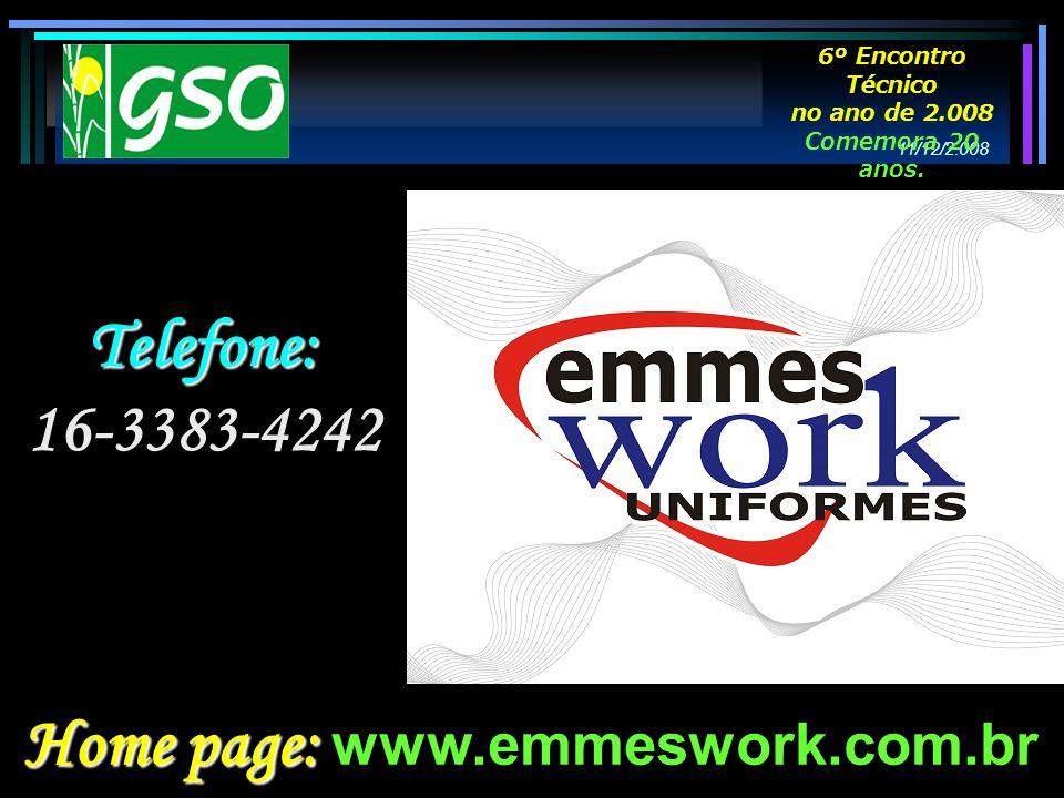 Telefone: 16-3383-4242 Home page: Home page: www.emmeswork.com.br 11/12/2.008 6º Encontro Técnico no ano de 2.008 Comemora 20 anos.