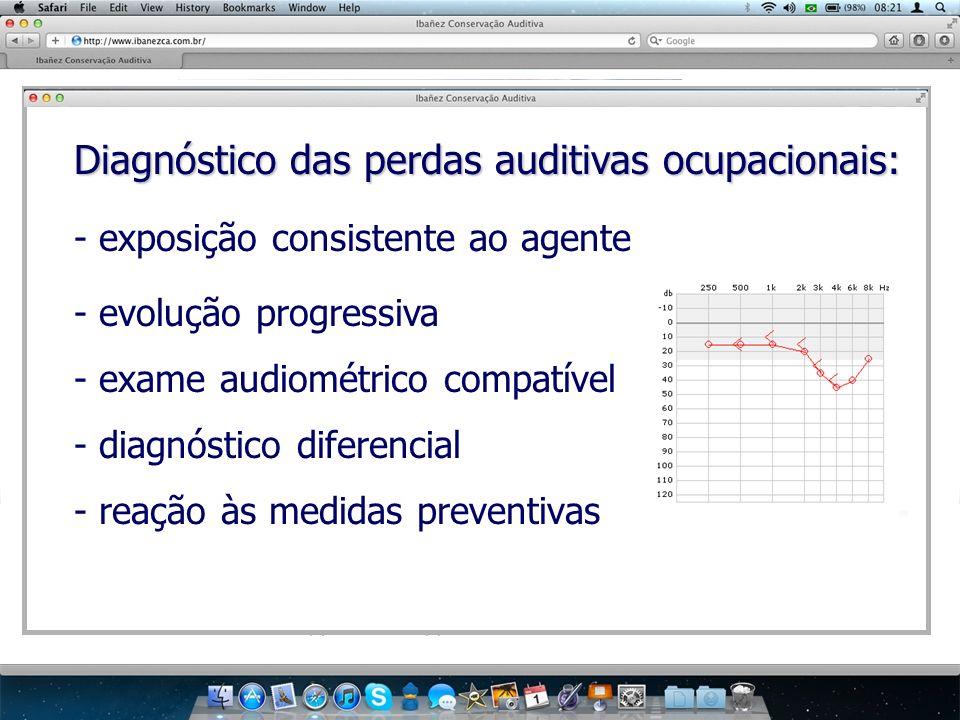 Diagnóstico das perdas auditivas ocupacionais: - exposição consistente ao agente - evolução progressiva - exame audiométrico compatível - diagnóstico