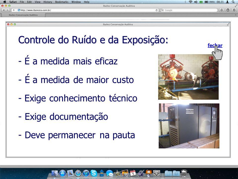 Controle do Ruído e da Exposição: fechar - É a medida mais eficaz - É a medida de maior custo - Exige conhecimento técnico - Exige documentação - Deve