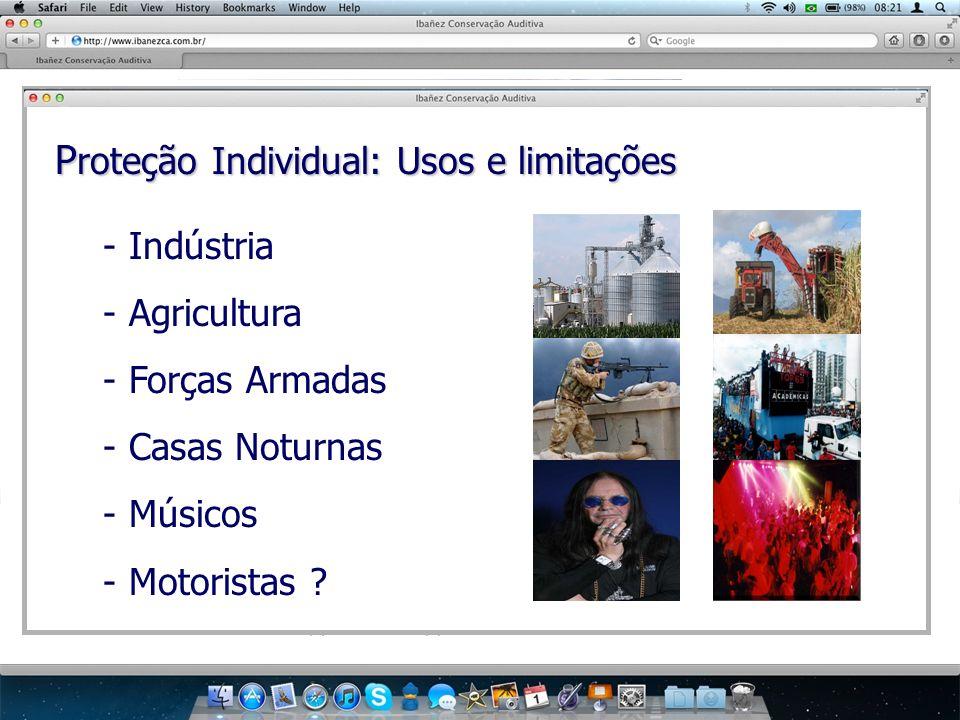 P roteção Individual: Usos e limitações - Indústria - Agricultura - Forças Armadas - Casas Noturnas - Músicos - Motoristas ?