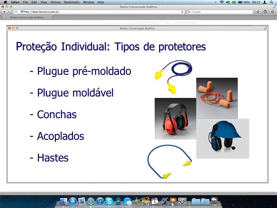 P roteção Individual: Tipos de protetores - Plugue pré-moldado - Plugue moldável - Conchas - Acoplados - Hastes