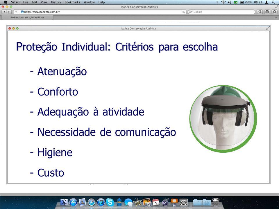 P roteção Individual: Critérios para escolha - Atenuação - Conforto - Adequação à atividade - Necessidade de comunicação - Higiene - Custo