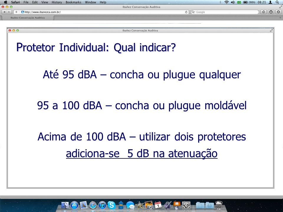 P rotetor Individual: Qual indicar? Até 95 dBA – concha ou plugue qualquer 95 a 100 dBA – concha ou plugue moldável Acima de 100 dBA – utilizar dois p