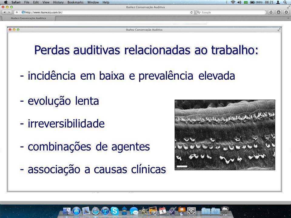 Perdas auditivas relacionadas ao trabalho: Perdas auditivas relacionadas ao trabalho: - incidência em baixa e prevalência elevada - evolução lenta - i