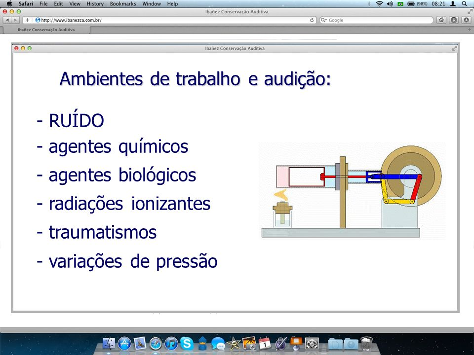 Ambientes de trabalho e audição: Ambientes de trabalho e audição: - RUÍDO - agentes químicos - agentes biológicos - radiações ionizantes - traumatismo