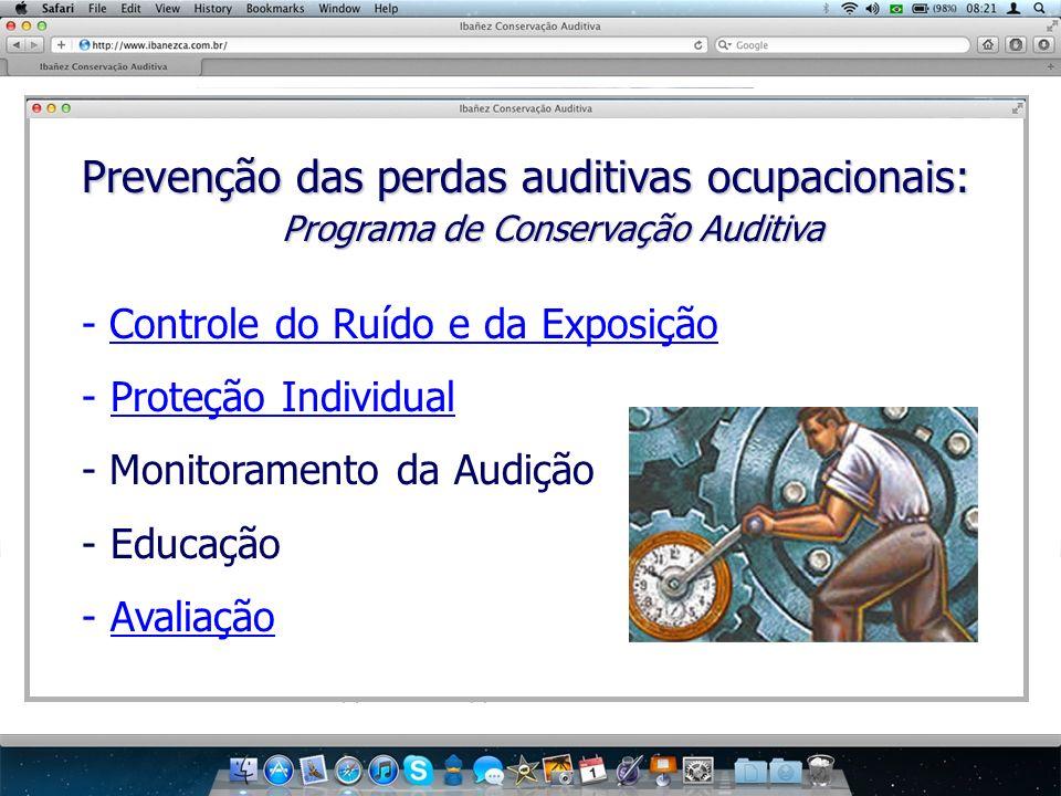 Prevenção das perdas auditivas ocupacionais: Programa de Conservação Auditiva - Controle do Ruído e da Exposição - Proteção Individual - Monitoramento