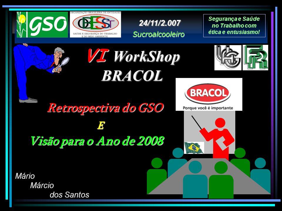 VI WorkShop BRACOL Segurança e Saúde no Trabalho com ética e entusiasmo! Mário Márcio dos Santos Sucroalcooleiro 24/11/2.007 Retrospectiva do GSO Visã