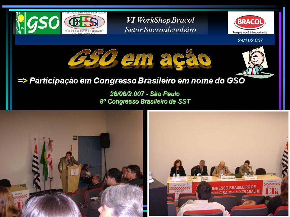 => Participação em Congresso Brasileiro em nome do GSO VI WorkShop Bracol Setor Sucroalcooleiro 26/06/2.007 - São Paulo 8º Congresso Brasileiro de SST
