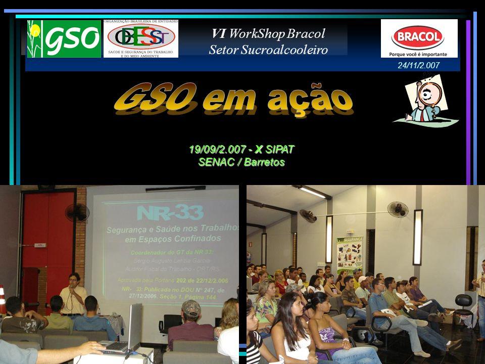 VI WorkShop Bracol Setor Sucroalcooleiro 19/09/2.007 - X SIPAT SENAC / Barretos 24/11/2.007