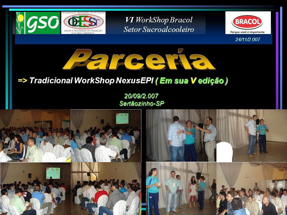( Em sua V edição ) => Tradicional WorkShop NexusEPI ( Em sua V edição ) VI WorkShop Bracol Setor Sucroalcooleiro 20/09/2.007 Sertãozinho-SP 24/11/2.0