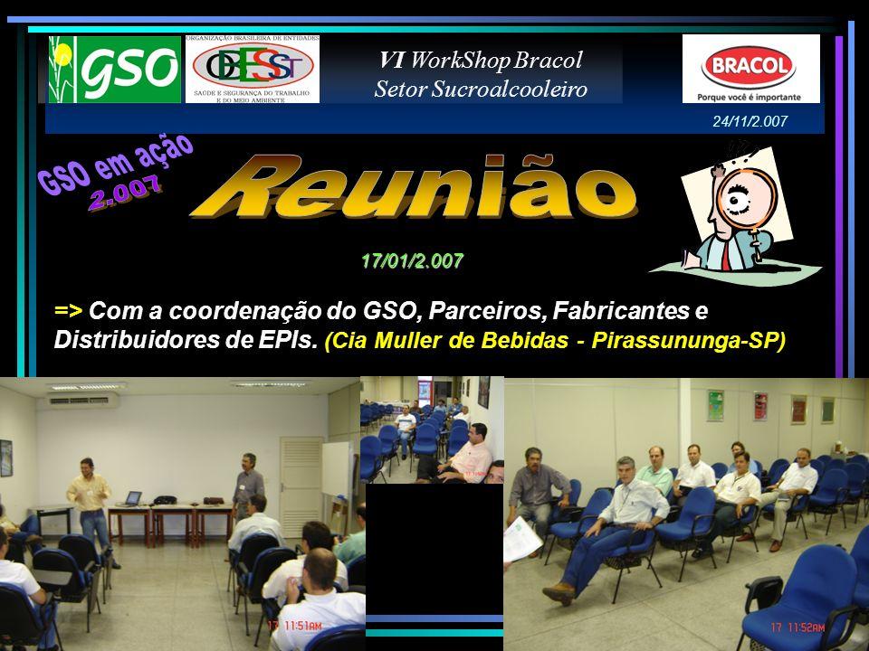 VI WorkShop Bracol Setor Sucroalcooleiro 24/11/2.007 => Com a coordenação do GSO, Parceiros, Fabricantes e Distribuidores de EPIs. (Cia Muller de Bebi