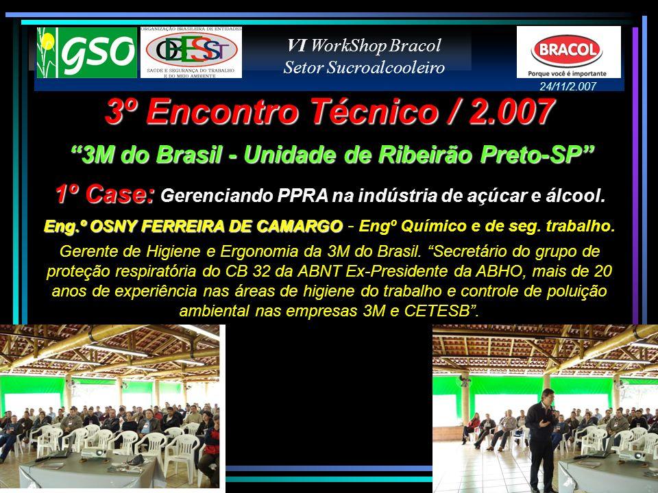 3º Encontro Técnico / 2.007 3M do Brasil - Unidade de Ribeirão Preto-SP 1º Case: 1º Case: Gerenciando PPRA na indústria de açúcar e álcool. Eng.º OSNY