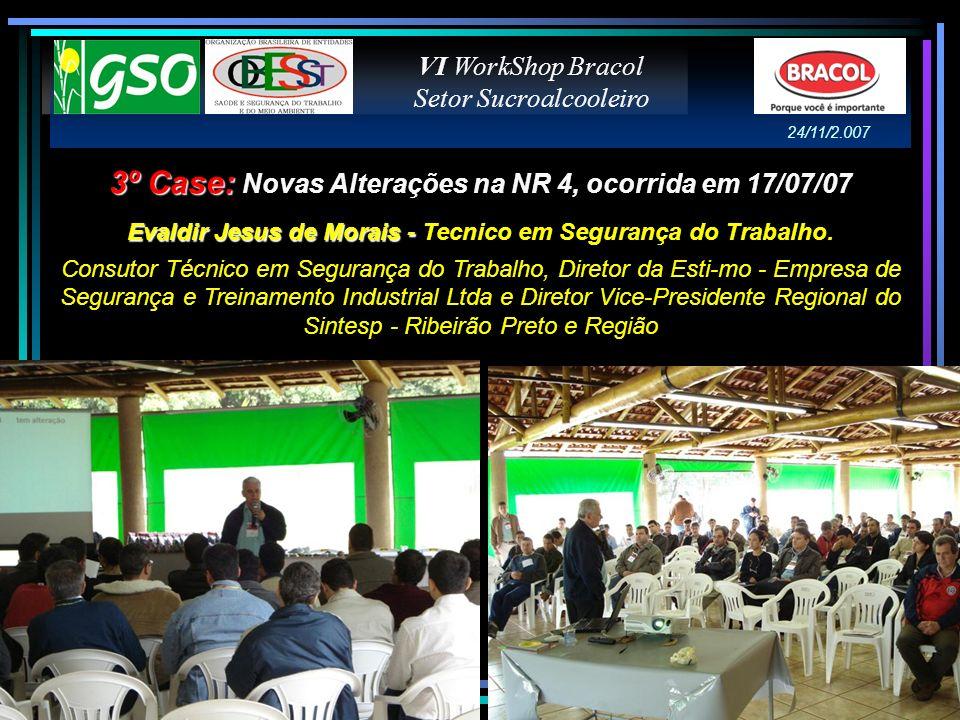 3º Case: 3º Case: Novas Alterações na NR 4, ocorrida em 17/07/07 Evaldir Jesus de Morais - Evaldir Jesus de Morais - Tecnico em Segurança do Trabalho.