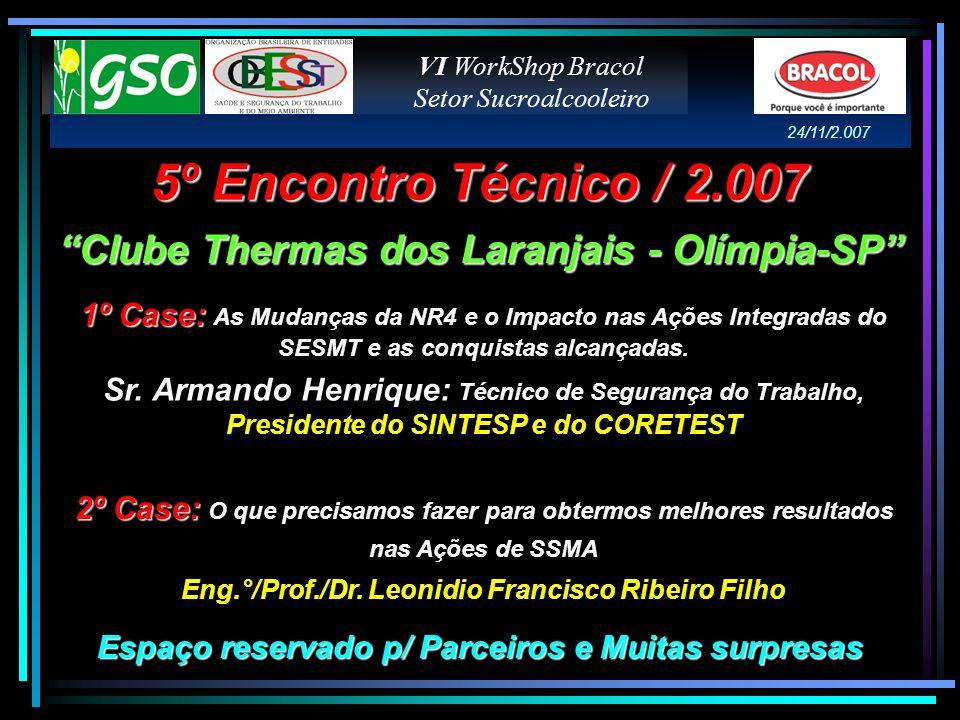 5º Encontro Técnico / 2.007 Clube Thermas dos Laranjais - Olímpia-SP 1º Case: 1º Case: As Mudanças da NR4 e o Impacto nas Ações Integradas do SESMT e