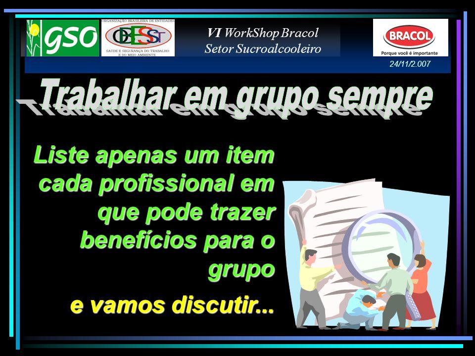 Liste apenas um item cada profissional em que pode trazer benefícios para o grupo e vamos discutir... VI WorkShop Bracol Setor Sucroalcooleiro 24/11/2
