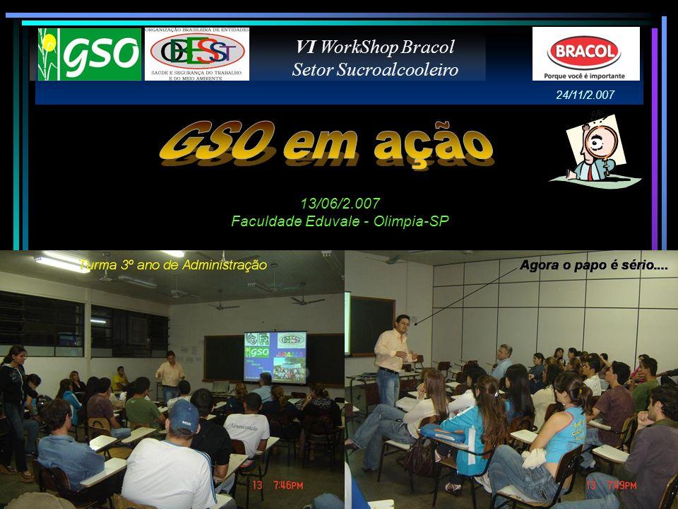VI WorkShop Bracol Setor Sucroalcooleiro 13/06/2.007 Faculdade Eduvale - Olimpia-SP 24/11/2.007