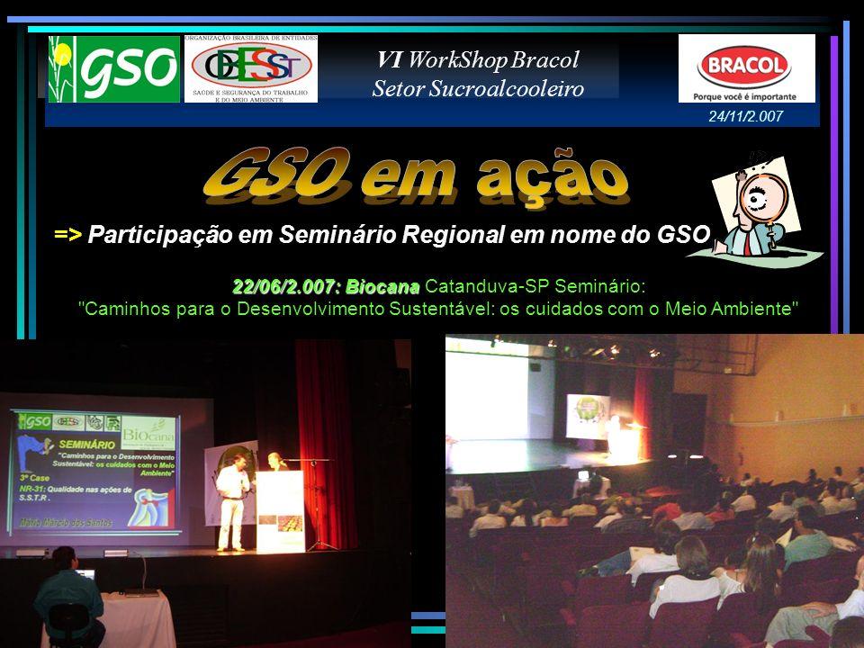 => Participação em Congresso Brasileiro em nome do GSO VI WorkShop Bracol Setor Sucroalcooleiro 26/06/2.007 - São Paulo 8º Congresso Brasileiro de SST 24/11/2.007