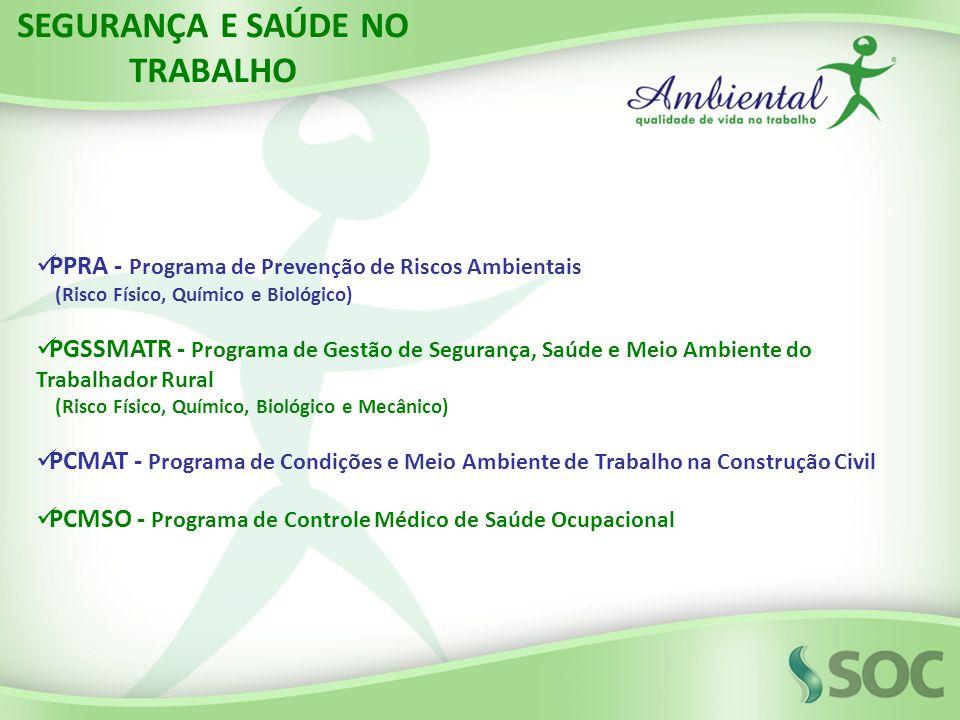 PPRA - Programa de Prevenção de Riscos Ambientais (Risco Físico, Químico e Biológico) PGSSMATR - Programa de Gestão de Segurança, Saúde e Meio Ambient