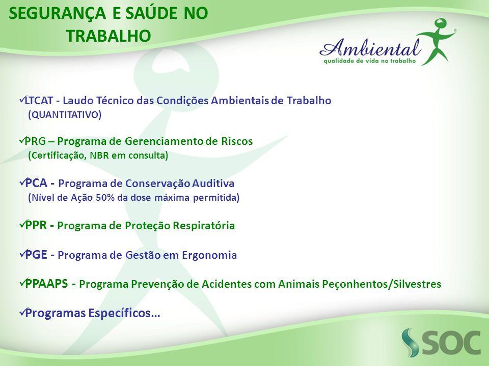 LTCAT - Laudo Técnico das Condições Ambientais de Trabalho (QUANTITATIVO) PRG – Programa de Gerenciamento de Riscos (Certificação, NBR em consulta) PC