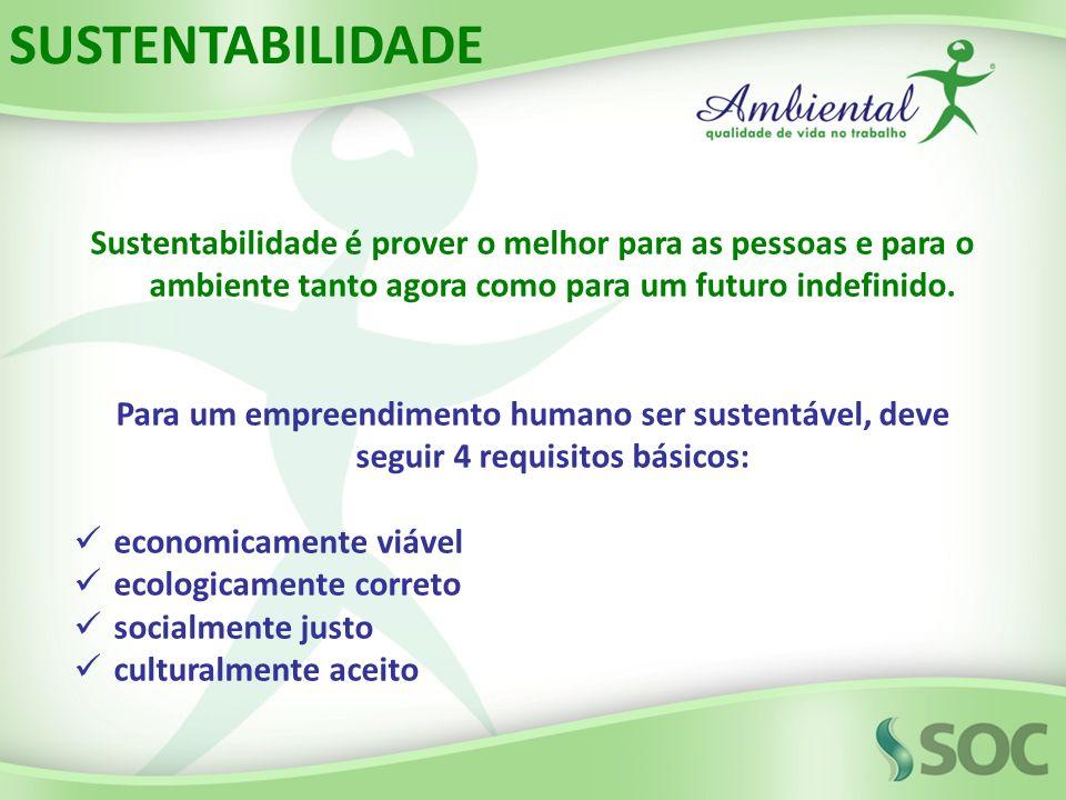 Sustentabilidade é prover o melhor para as pessoas e para o ambiente tanto agora como para um futuro indefinido. Para um empreendimento humano ser sus