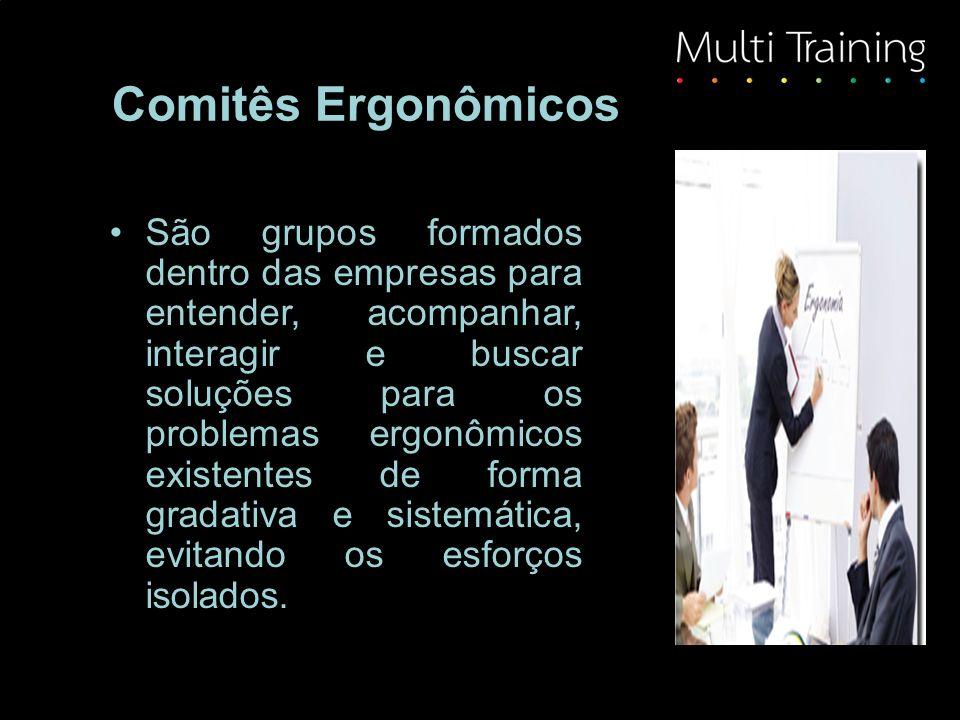 Comitês Ergonômicos São grupos formados dentro das empresas para entender, acompanhar, interagir e buscar soluções para os problemas ergonômicos existentes de forma gradativa e sistemática, evitando os esforços isolados.