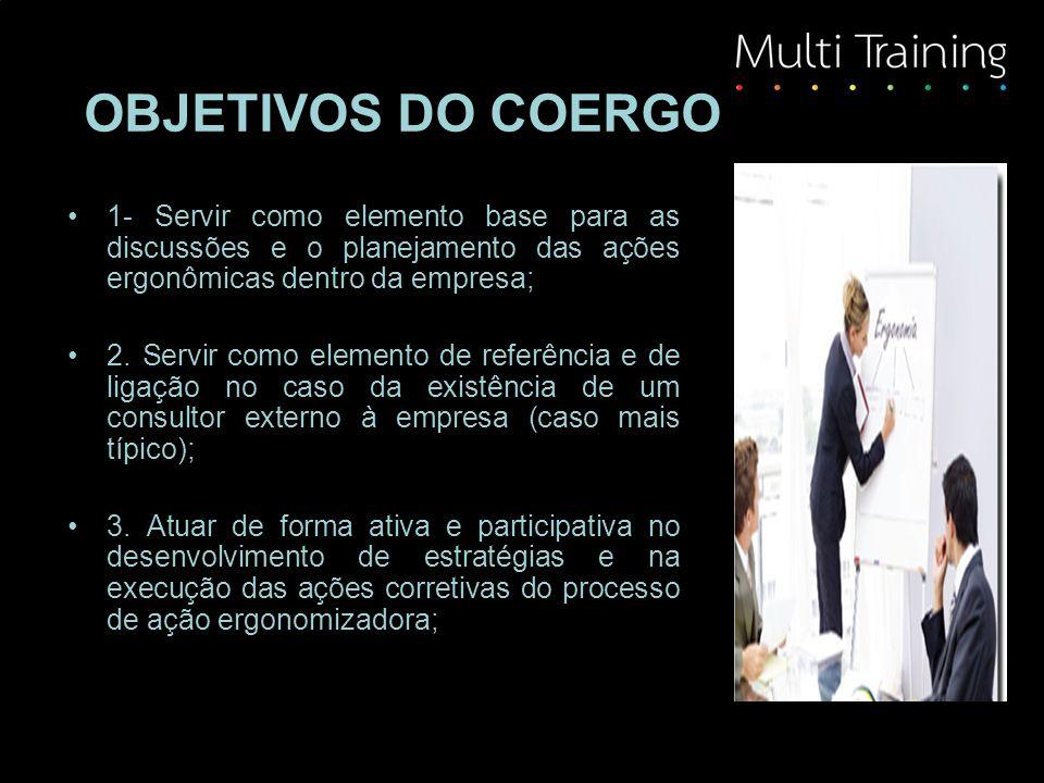 OBJETIVOS DO COERGO 1- Servir como elemento base para as discussões e o planejamento das ações ergonômicas dentro da empresa; 2. Servir como elemento