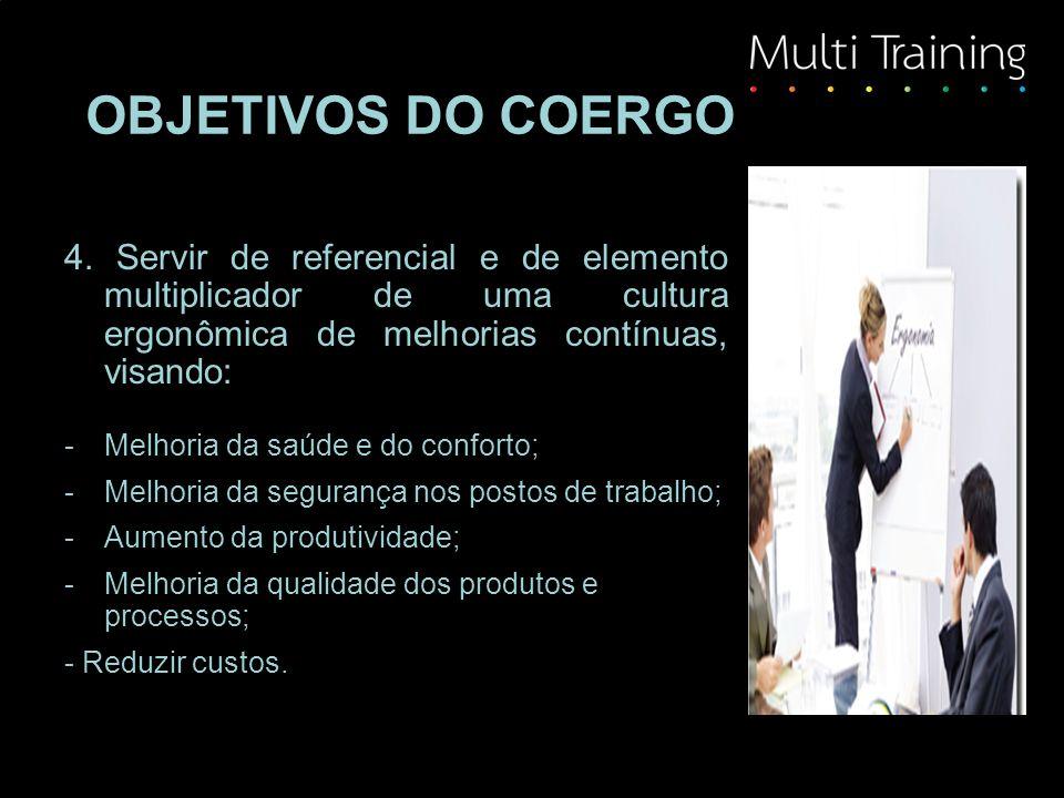 OBJETIVOS DO COERGO 4. Servir de referencial e de elemento multiplicador de uma cultura ergonômica de melhorias contínuas, visando: -Melhoria da saúde