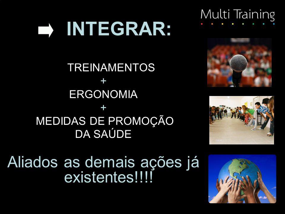 INTEGRAR: TREINAMENTOS + ERGONOMIA + MEDIDAS DE PROMOÇÃO DA SAÚDE Aliados as demais ações já existentes!!!!