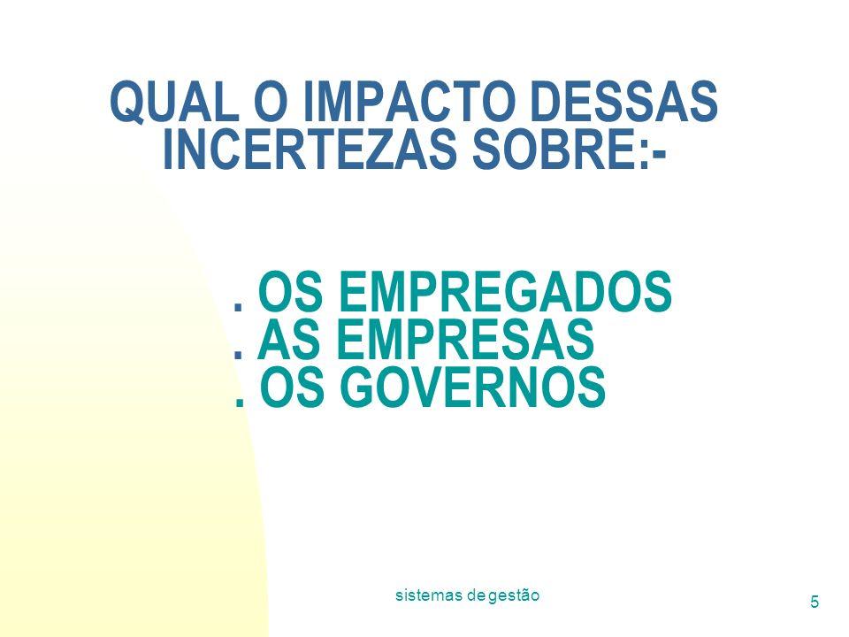 sistemas de gestão 5 QUAL O IMPACTO DESSAS INCERTEZAS SOBRE:-. OS EMPREGADOS. AS EMPRESAS. OS GOVERNOS