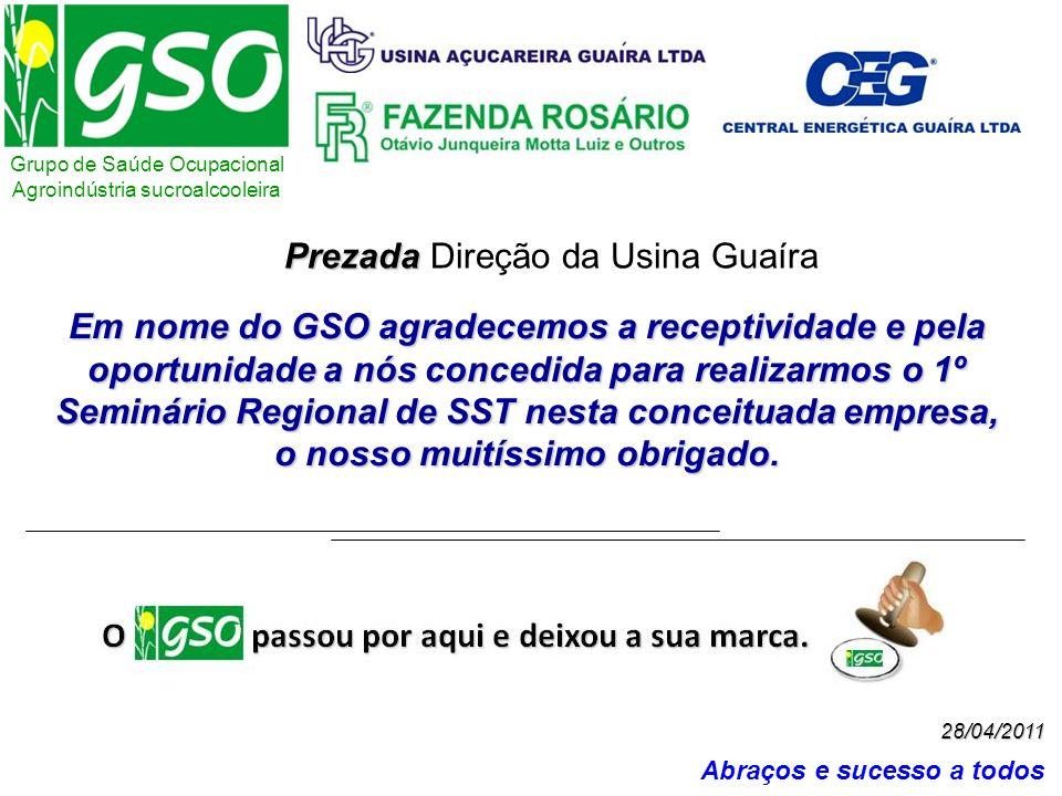 Grupo de Saúde Ocupacional Agroindústria sucroalcooleira Abraços e sucesso a todos 28/04/2011 Em nome do GSO agradecemos a receptividade e pela oportu