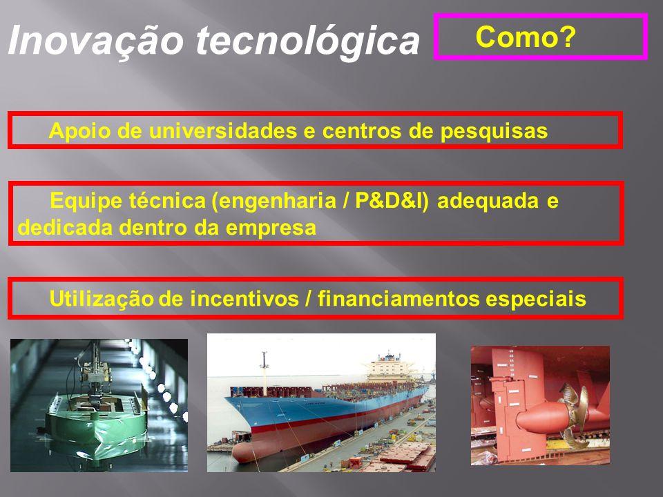 Inovação tecnológica Como? Apoio de universidades e centros de pesquisas Equipe técnica (engenharia / P&D&I) adequada e dedicada dentro da empresa Uti