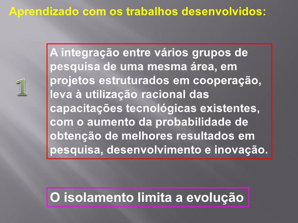 A integração entre vários grupos de pesquisa de uma mesma área, em projetos estruturados em cooperação, leva à utilização racional das capacitações te