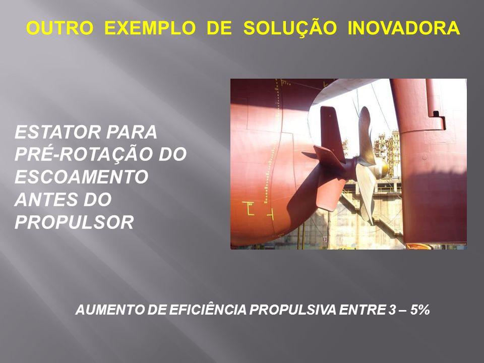 OUTRO EXEMPLO DE SOLUÇÃO INOVADORA ESTATOR PARA PRÉ-ROTAÇÃO DO ESCOAMENTO ANTES DO PROPULSOR AUMENTO DE EFICIÊNCIA PROPULSIVA ENTRE 3 – 5%