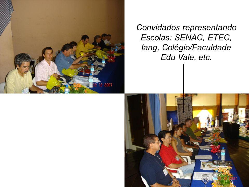 Convidados representando Escolas: SENAC, ETEC, Iang, Colégio/Faculdade Edu Vale, etc.