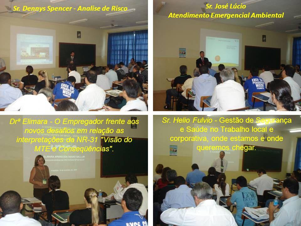 Sr. Dennys Spencer - Analise de Risco Sr. José Lúcio Atendimento Emergencial Ambiental Drª Elimara - O Empregador frente aos novos desafios em relação