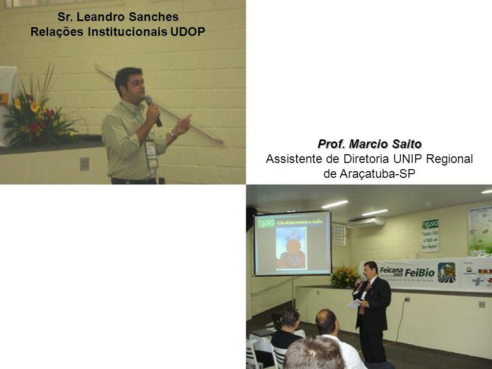 Sr. Leandro Sanches Relações Institucionais UDOP Prof. Marcio Saito Assistente de Diretoria UNIP Regional de Araçatuba-SP