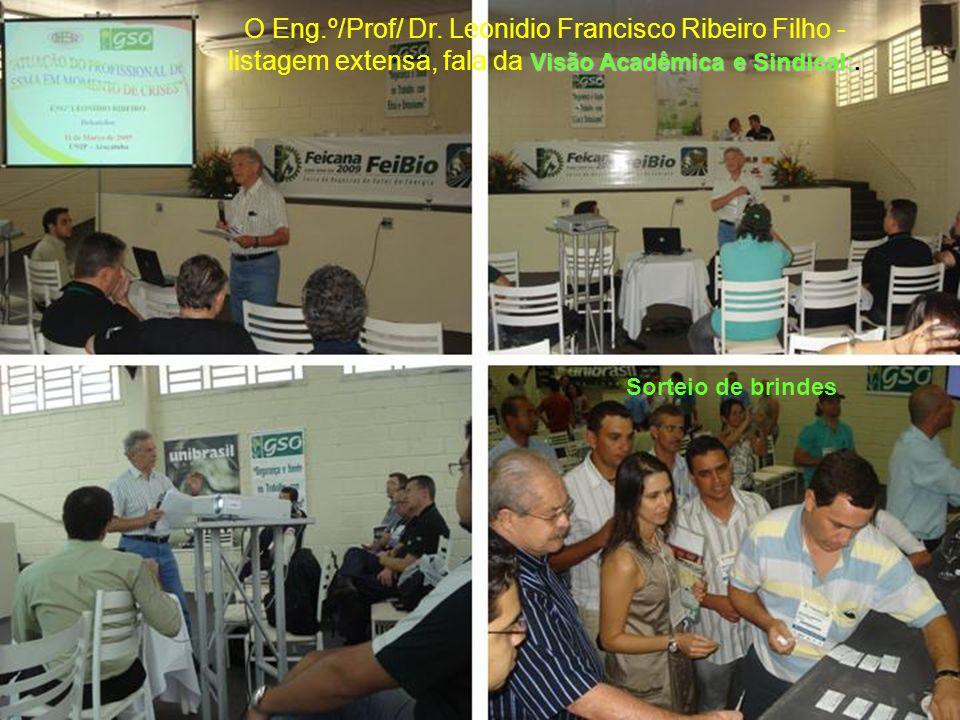 Visão Acadêmica e Sindical:. O Eng.º/Prof/ Dr. Leonidio Francisco Ribeiro Filho - listagem extensa, fala da Visão Acadêmica e Sindical:. Sorteio de br