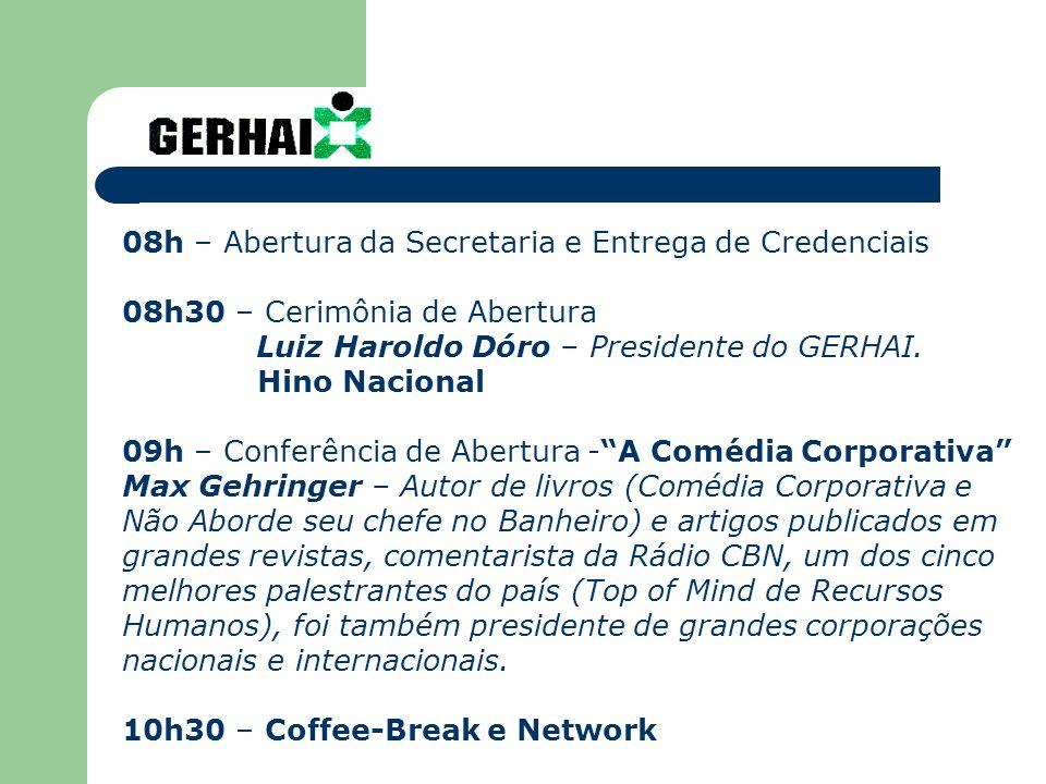 08h – Abertura da Secretaria e Entrega de Credenciais 08h30 – Cerimônia de Abertura Luiz Haroldo Dóro – Presidente do GERHAI.