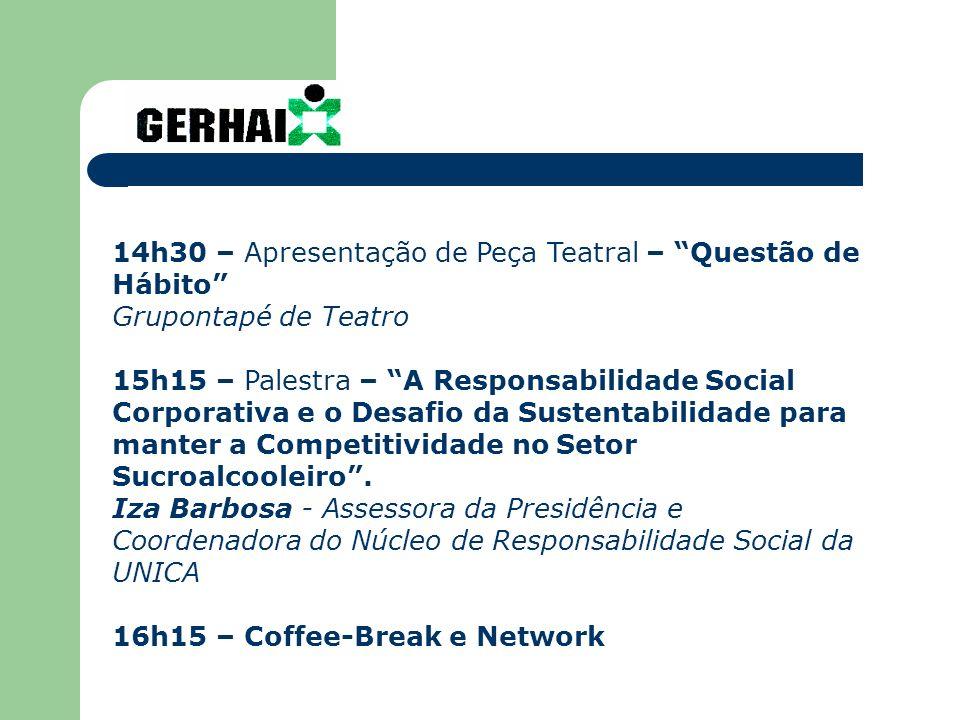 14h30 – Apresentação de Peça Teatral – Questão de Hábito Grupontapé de Teatro 15h15 – Palestra – A Responsabilidade Social Corporativa e o Desafio da Sustentabilidade para manter a Competitividade no Setor Sucroalcooleiro.