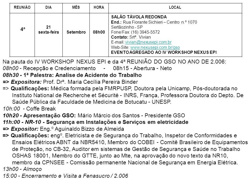 REUNIÃODIAMÊSHORALOCAL 4ª 21 sexta-feiraSetembro08h00 SALÃO TÁVOLA REDONDA End.: Rua Fiorante Sichieri – Centro n.º 1070 Sertãozinho - SP Fone/Fax: (1