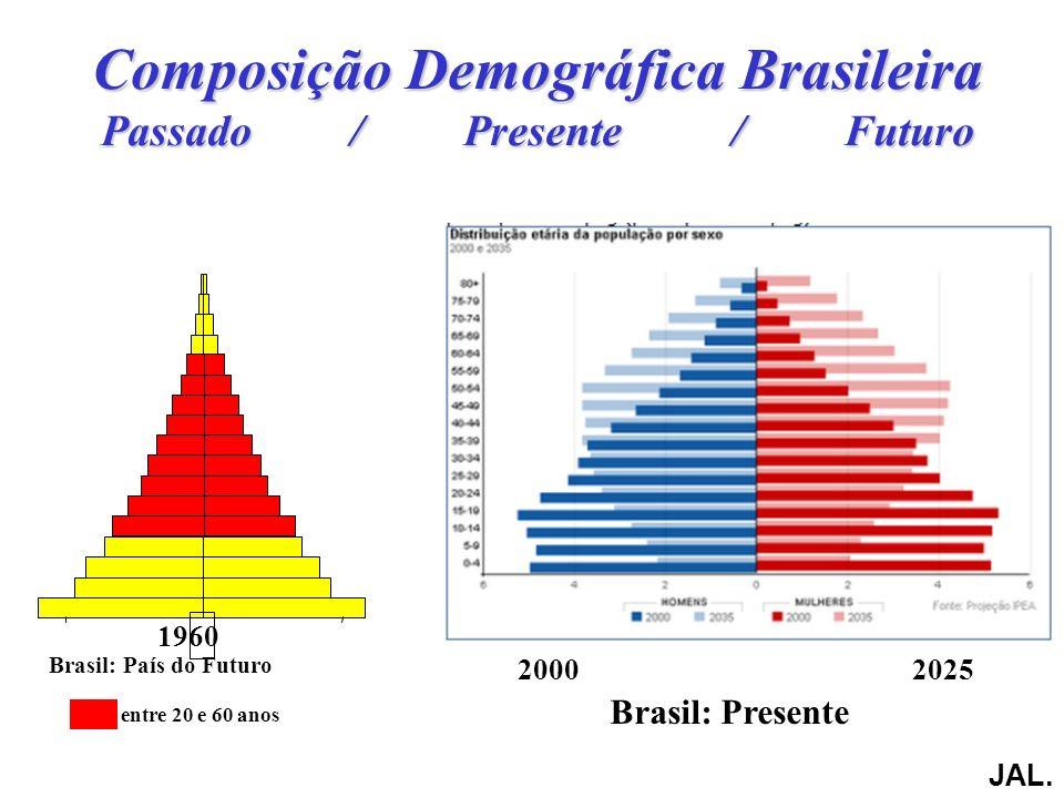 Composição Demográfica Brasileira Passado / Presente / Futuro 1960 20002025 entre 20 e 60 anos Brasil: País do Futuro JAL.