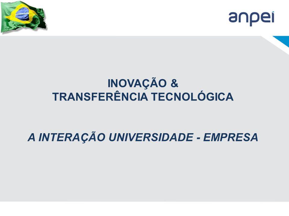 INOVAÇÃO & TRANSFERÊNCIA TECNOLÓGICA A INTERAÇÃO UNIVERSIDADE - EMPRESA