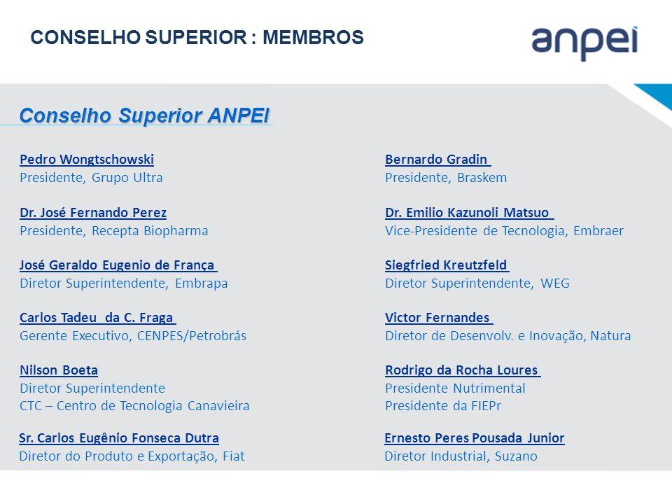 Conselho Superior ANPEI Conselho Superior ANPEI Pedro Wongtschowski Presidente, Grupo Ultra Bernardo Gradin Presidente, Braskem Dr. José Fernando Pere