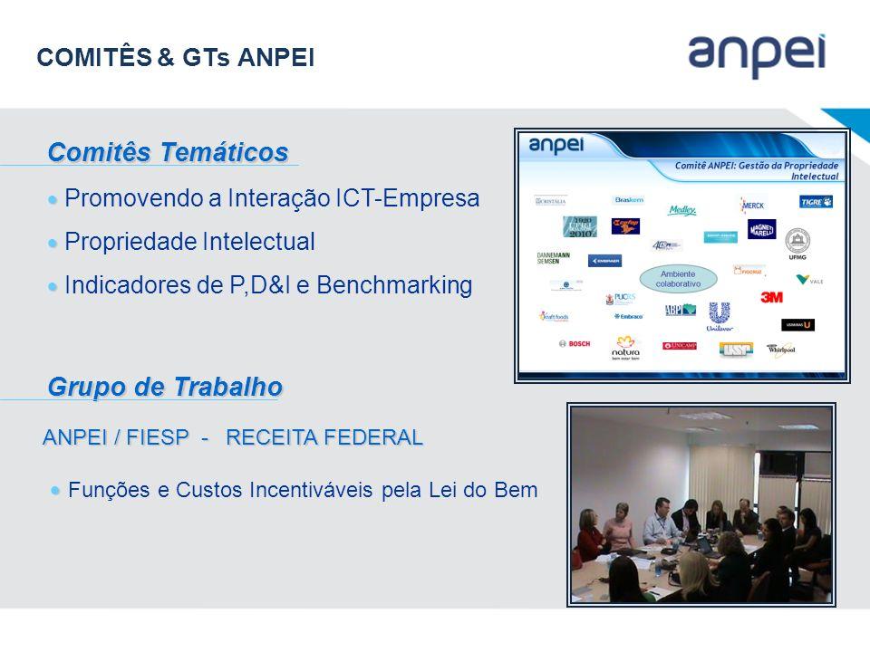 Promovendo a Interação ICT-Empresa Propriedade Intelectual Indicadores de P,D&I e Benchmarking Comitês Temáticos Grupo de Trabalho ANPEI / FIESP - REC