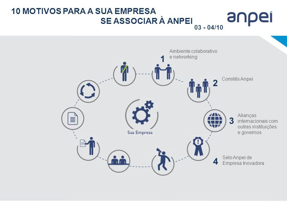 Ambiente colaborativo e networking 1 Comitês Anpei 2 Alianças internacionais com outras instituições e governos 3 Selo Anpei de Empresa Inovadora 4 10
