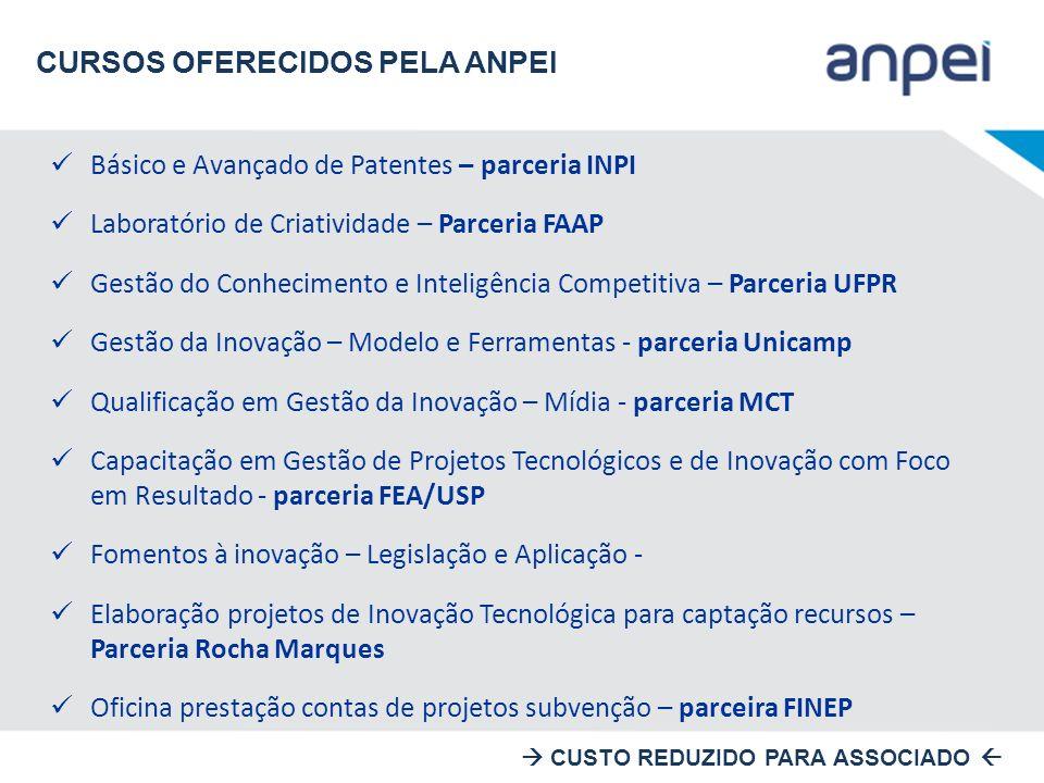 Básico e Avançado de Patentes – parceria INPI Laboratório de Criatividade – Parceria FAAP Gestão do Conhecimento e Inteligência Competitiva – Parceria