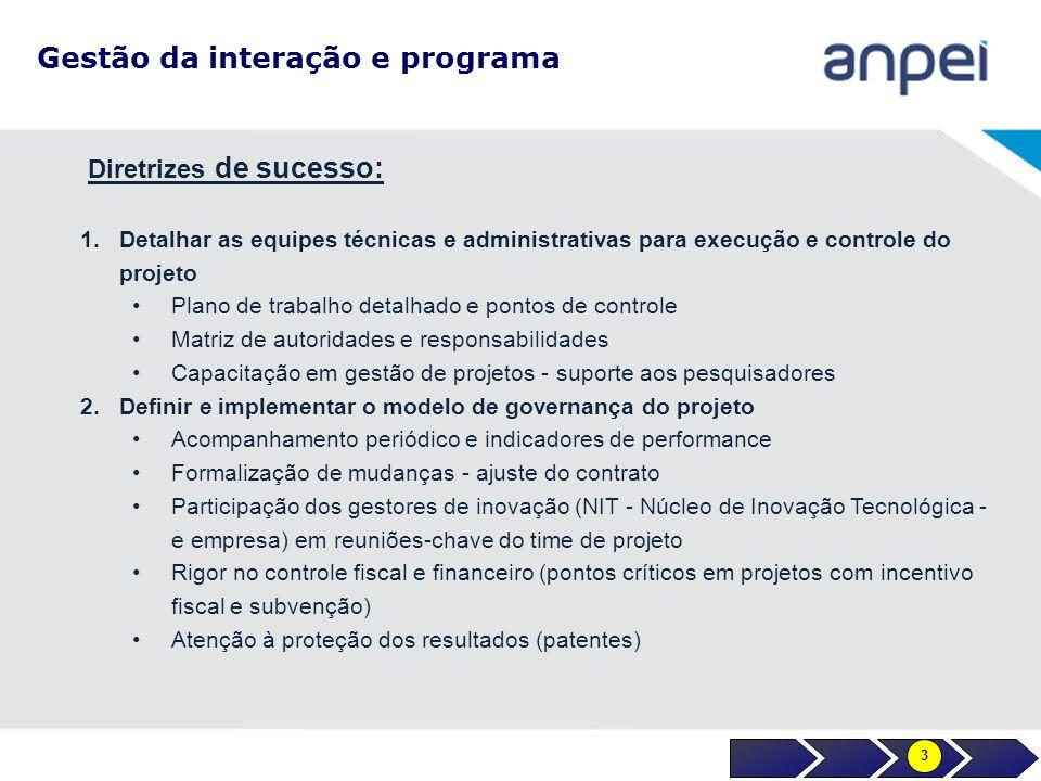 Gestão da interação e programa 1.Detalhar as equipes técnicas e administrativas para execução e controle do projeto Plano de trabalho detalhado e pont