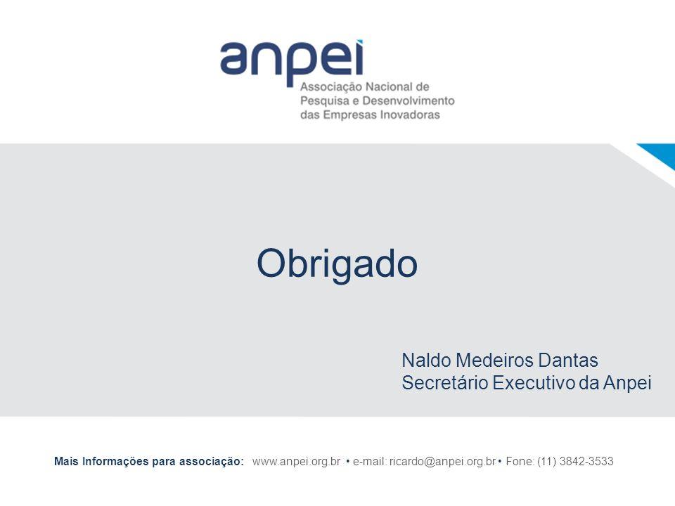Obrigado Mais Informações para associação: www.anpei.org.br e-mail: ricardo@anpei.org.br Fone: (11) 3842-3533 Naldo Medeiros Dantas Secretário Executi